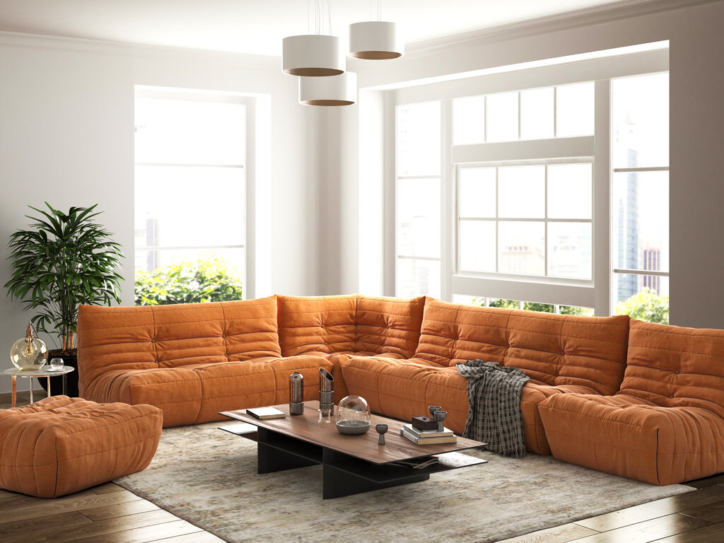 Модный бескаркасный диван